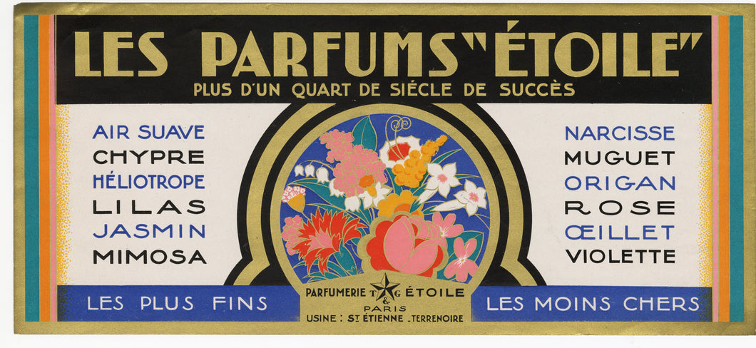 Vintage, Unused, French LES PARFUMS ETOILE Assorted Perfumes Label SET