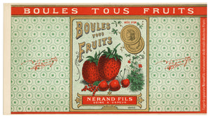 Vintage, Unused, French Canned Strawberry Fruit Label