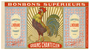 Antique, Unused, French GRAINS CHANTECLER Bonbon, Candy Box Label, Chicken