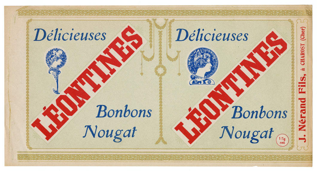Vintage, Unused, French Art Nouveau LEONTINES NOUGAT BONBON Candy Label