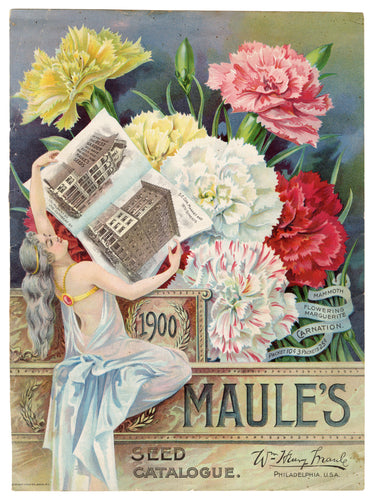 Beautiful Antique 1900 MAULE'S Seed Catalog COVER, Gardening, Farming, Flowers