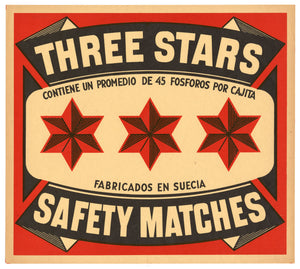 LARGE Antique, Unused THREE STARS Safety Match Crate Label