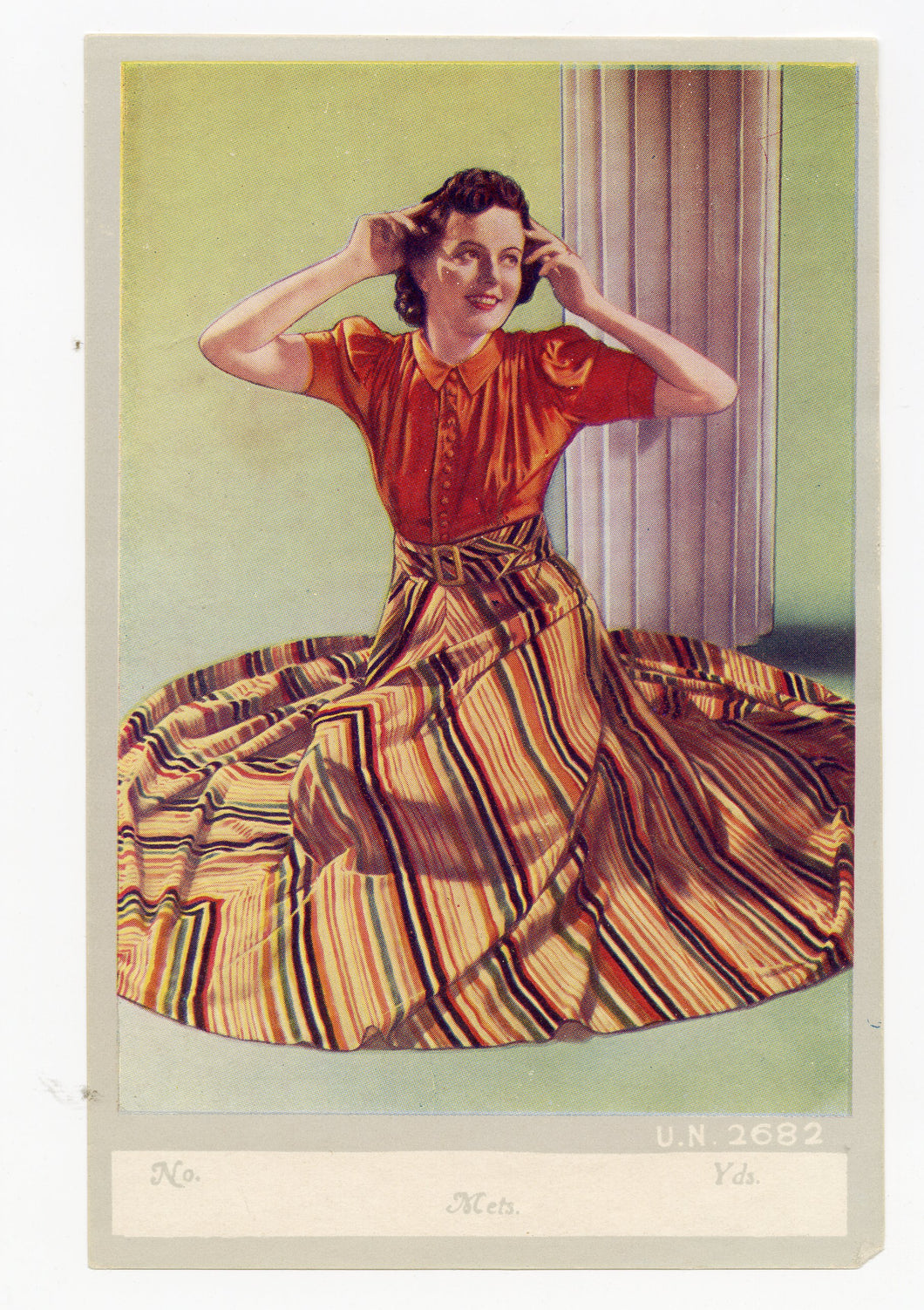 Vintage, Unused 1930's Fashion Fabric Label