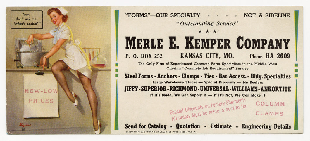 Vintage, Unused MERLE E. KEMPER CO. Blotter, Lunch Lady Pinup, Gil Elvgren