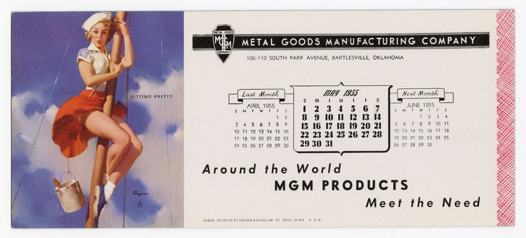 Vintage, Unused May 1955 METAL GOOD MFG. CO. Naughty Blotter, Gil Elvgren Sailor Pinup Girl on Mast