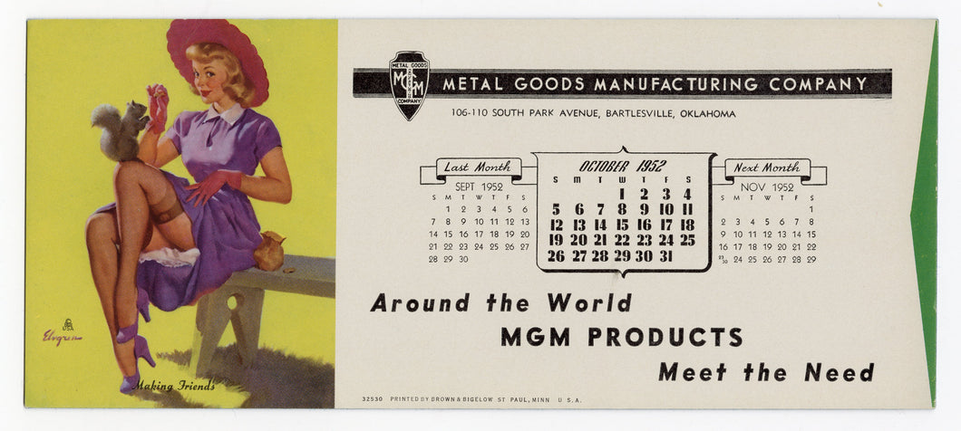 Vintage, Unused Oct. 1952 METAL GOOD MFG. CO. Blotter, Gil Elvgren Pinup Girl and Squirrel