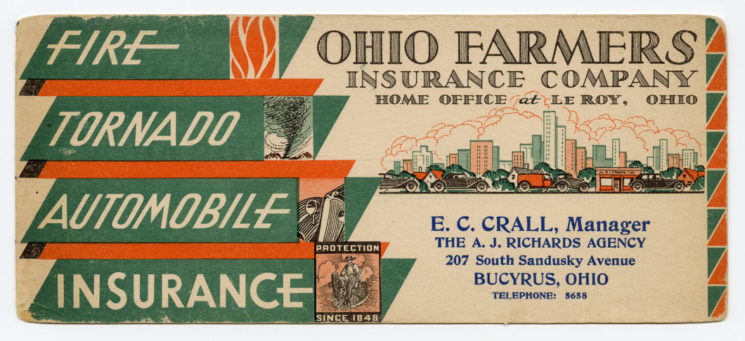 Vintage 1920's Art Deco OHIO FARMERS INSURANCE CO. Blotter || Bucyrus, Ohio