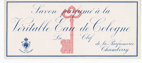 Vintage, Unused, French Art Deco VERITABLE EAU DE COLOGNE LA CLEF Soap Box Label