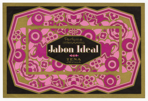 Vintage, Unused, Spanish Art Deco JABON IDEAL Soap Box Label, Seville