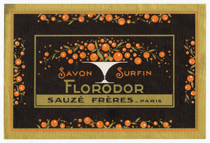 Vintage, Unused, French Art Deco SAVON FLORODOR Soap Box Label