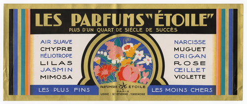 Vintage, Unused, French Art Deco ETOILE Perfumes Advertising Box Label, Cosmetics