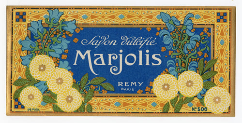 Antique, Unused, French Art Deco MARJOLIS Soap Box Label, REMY