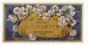 Vintage, Unused, French Art Deco A LA VIOLETTE Soap Box Label || Victor Vaissier