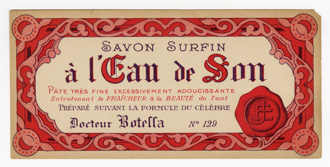 Vintage, Unused, French A L'EAU DE SON Cosmetic Box Label, Red Seal