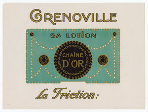 Vintage, Unused, French Art Deco CHAINE D'OR Cosmetic, Lotion Label