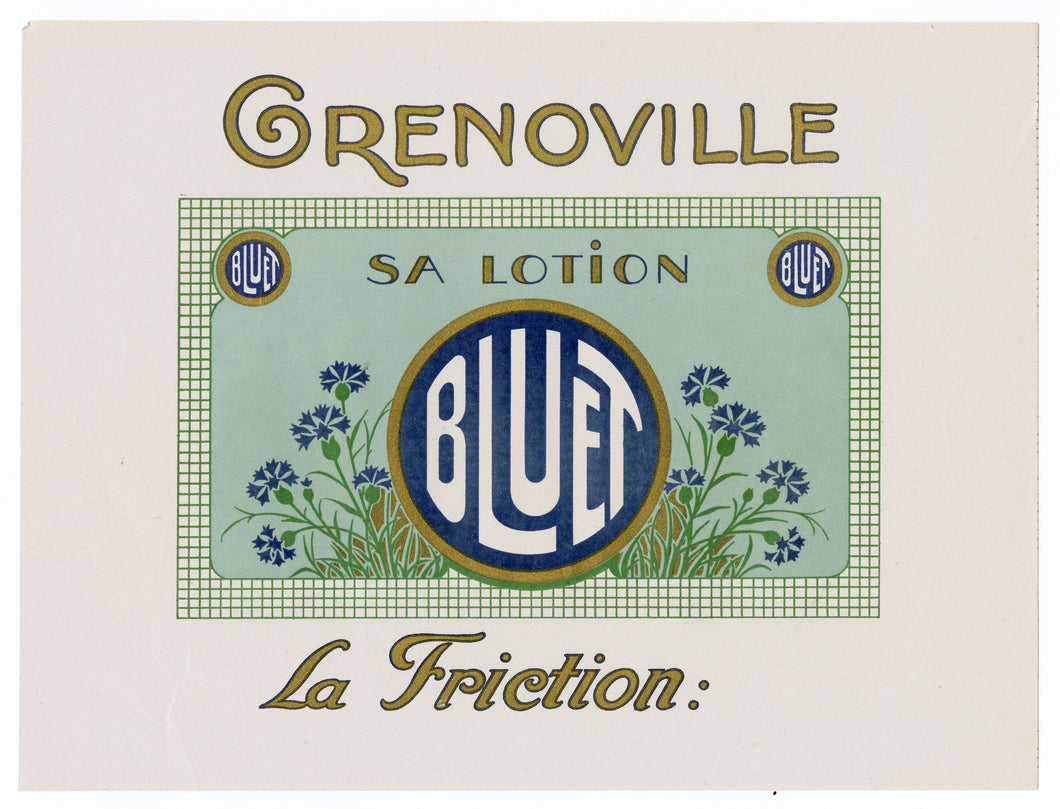 Vintage, Unused, French Art Deco BLUET Brand Cosmetic, Lotion Label