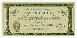 Vintage, Unused, French Art Deco L'EXTRAIT DE SON Perfume, Soap Box Label, COSMYDOR