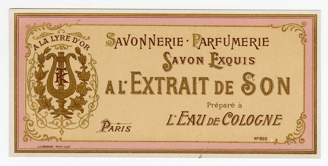 Vintage, Unused, French A L'EXTRAIT DE SON Soap Box Label, Golden Lyre