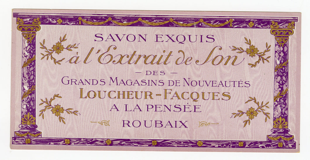 Vintage, Unused, French Art Deco A L'EXTRAIT DE SON Soap Box Label, ROUBAIX