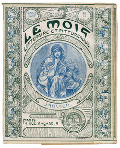 Rare, Antique, French MUCHA Illustrated January 1902 LE MOIS Literary Magazine Cover, Art Nouveau