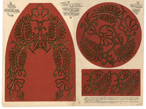 1884 Slipper & Smoking Cap EMBROIDERY OUTLINE, Supplement To Young Ladies' Journal, Vintage Fashion