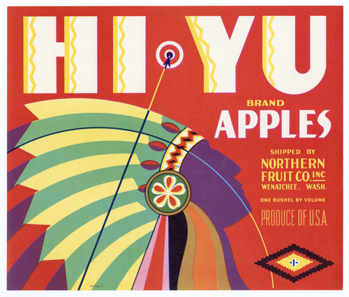 Vintage, Unused HI-YU Brand Apple Fruit Crate Label, American Indian || Wenatchee, Wash.