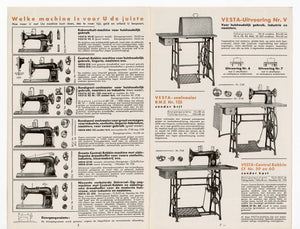Vintage 1920s-1930s Dutch VESTA SEWING MACHINE Fold Out Eight Page Advertisement Brochure