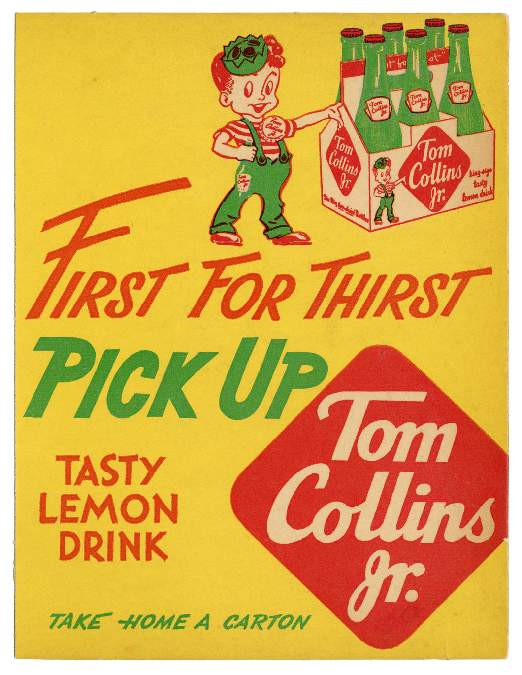 Vintage TOM COLLINS JR. Lemon Soda Store Display, Non-Alcoholic Beverage