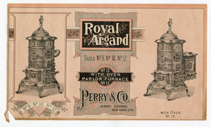Victorian ROYAL ARGAND Oven & Parlor Furnace Paper Advertisement || Perry & Co.