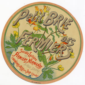 Vintage, Unused, French PETITE BRIE DES FERMIERS Cheese Wheel Label