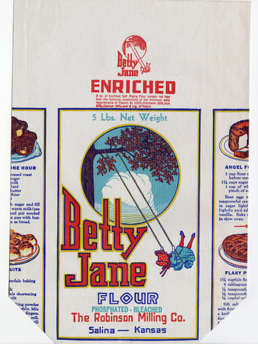 Vintage, Unused BETTY JANE FLOUR Bag || Salina, Kansas