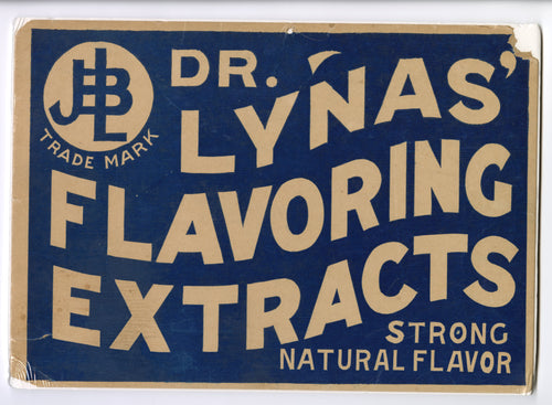 Antique DR. LYNAS FLAVORING EXTRACTS Advertising Label, Store Display