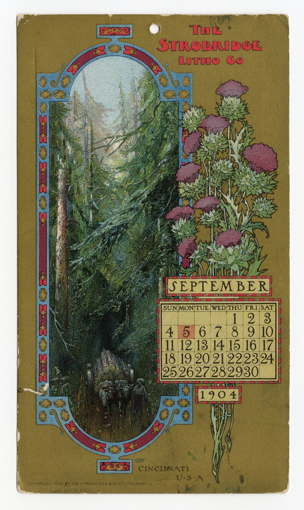 September 1904 STROBRIDGE LITHO CO. Promotional Calendar Cards, Elaborate Illustrations