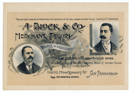 Antique 1900's A. Block & Co. MERCHANT TAILORS Ad, Yosemite Tours, San Francisco