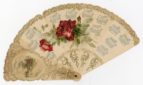 1901 Victorian Die-cut Advertising Fan, Calendar, Embossed Roses