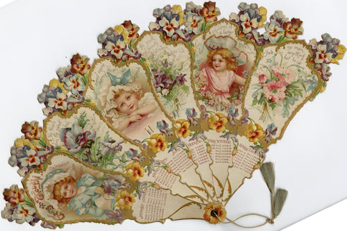 1901 GEMS OF THOUGHT Die-cut Calendar Hand Fan, Children, Flowers, Inspirational