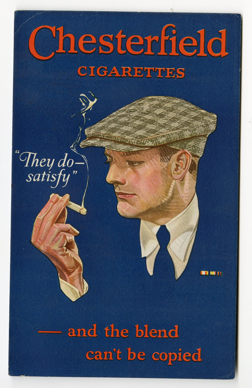 1920's CHESTERFIELD CIGARETTE Advertising Blotter, Men's Vintage Fashion