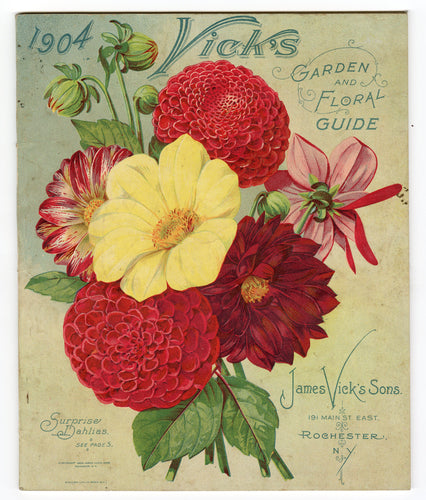1904 VICK'S GARDEN & FLORAL GUIDE, Seed Catalog, Dahlias, Flowers, Farm