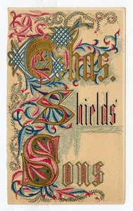 Victorian CHARLES SHIELDS' SONS Lithographic & Letterpress Printers Trade Card