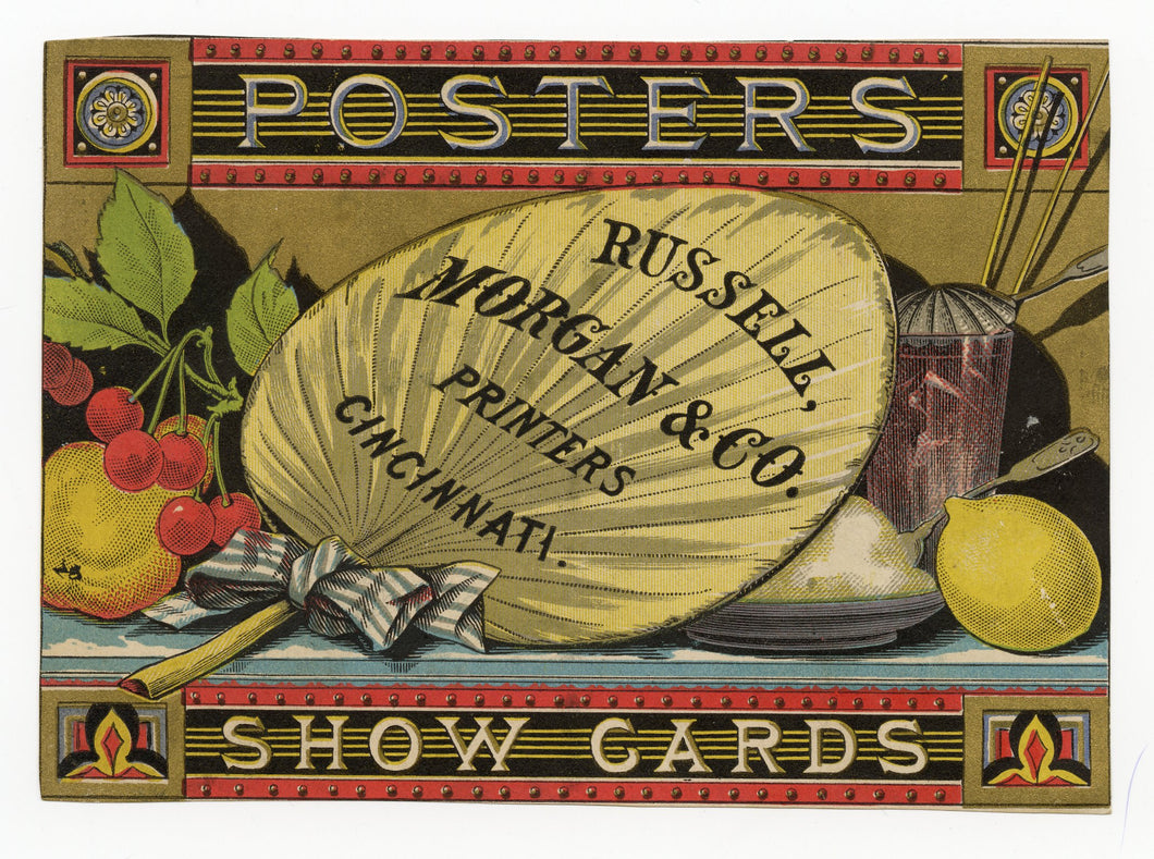 RUSSELL MORGAN & CO. Printers Trade Card, Hand Fan, Posters, Show Cards