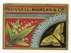 RUSSELL MORGAN & CO. Printers Spring Trade Card, Butterfly, Labels, Showcards