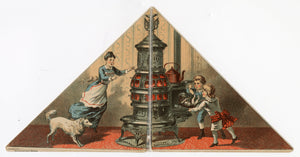 Antique Victorian GARLAND STOVES & RANGES Fold-out Triangular Trade Card, Cat, Dog