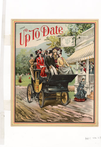 1890's Original UP TO DATE Color Lithograph, Victorian Carriage Ride