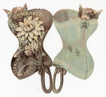 Load image into Gallery viewer,  DR. WARNER'S CORALINE CORSETS Die-Cut Trade Card, Victorian Fashion