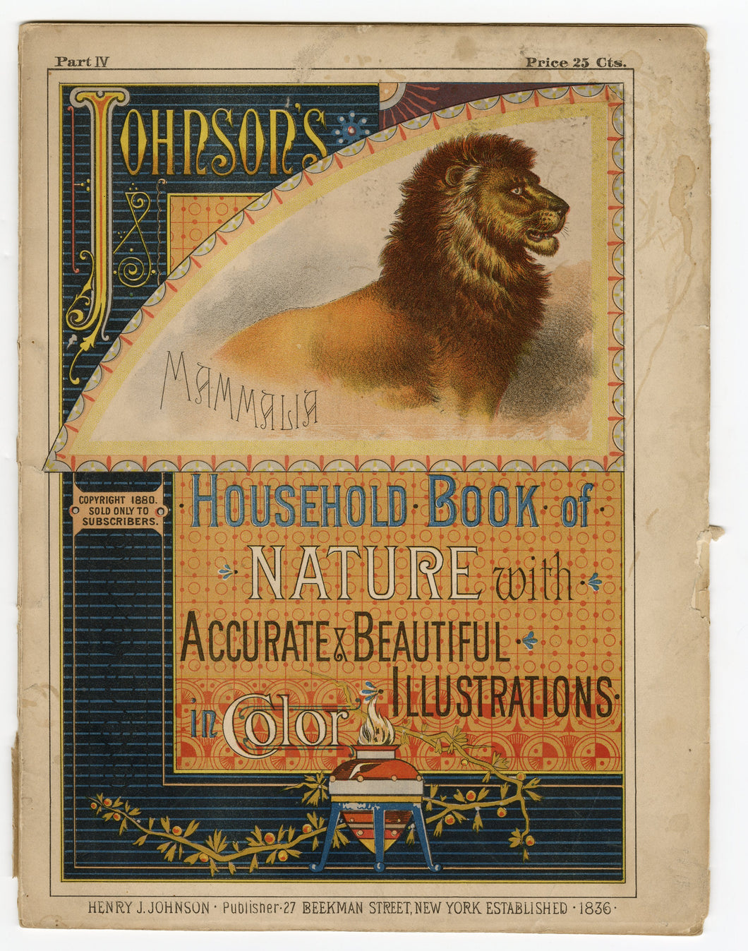 1880 JOHNSON'S HOUSEHOLD BOOK OF NATURE, Mammlia, Illustrated