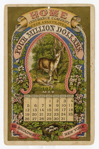 1872 Antique Victorian HOME INSURANCE CO. Promotional 12 Month CALENDAR