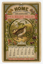 Load image into Gallery viewer, 1872 Antique Victorian HOME INSURANCE CO. Promotional 12 Month CALENDAR