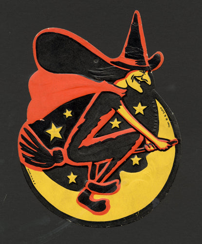 1930's BEISTLE Vintage Halloween Witch on Broom Die-cut Decoration