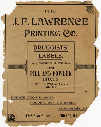 1899 J.F. Lawrence Druggists' Full Pharmacy Label Catalog, Prescription Blanks