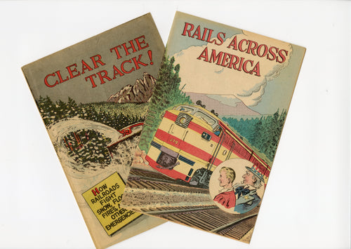 Two 1960's Train Comic Books RAILS ACROSS AMERICA & CLEAR THE TRACK